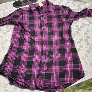 Faded Glory XL Purple Plaid Button Up Top